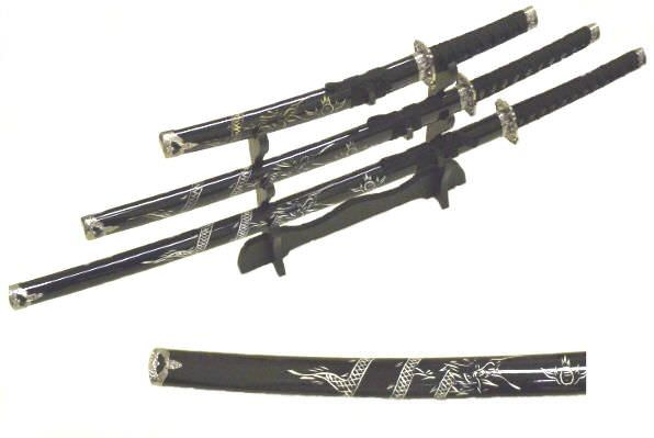 3pc Black Dragon Set Samuri Swords K0016-4BK