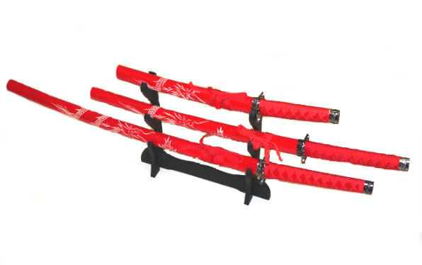 3pc Red Dragon Set Samurai Sword Set K0021-4DGRD