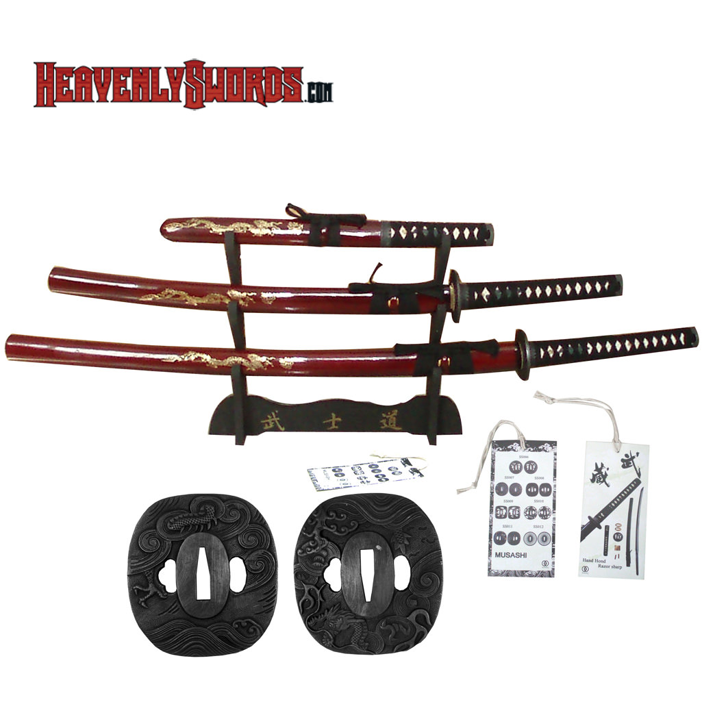 Musashi Hand Forged Samurai Katana Set - Red