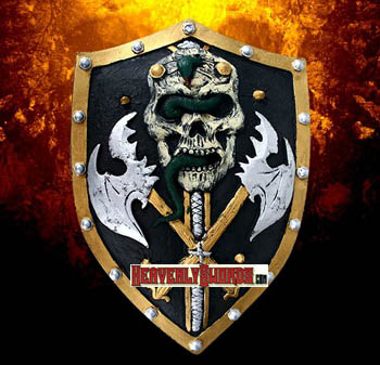 Crusader Medieval Knight Foam Fantasy Skull Shield Prop LARP 20""