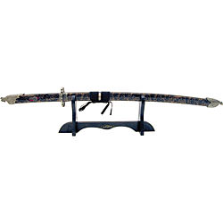 Black Belt Dragon Katana with wood stand 41 1/2""