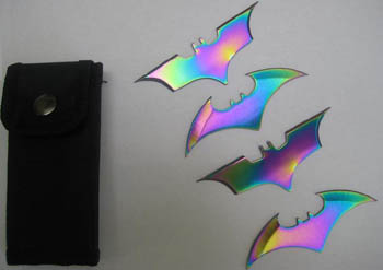 Batman Batarang Quad Thrower Set W/ Pouch (Rainbow) 2.5""