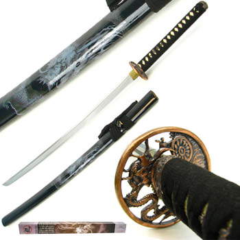 Hand Forged Katana w/ Dragon Design 39&quot;