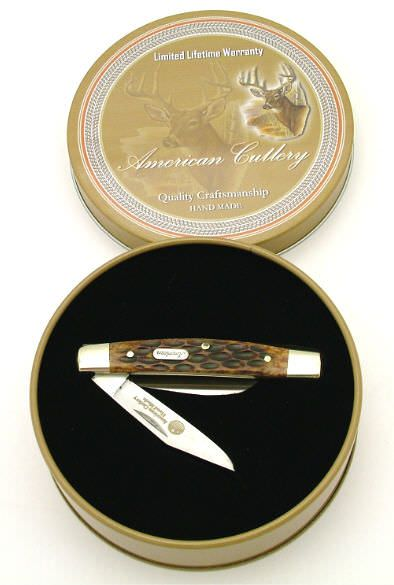 Whitetail Deer 3 Blade Bone Handle Pocket Knife in a Gift Box 6""