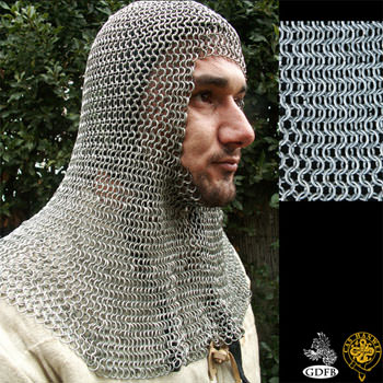 Chain Mail Coif - Butted - Zinc Coated - High Tensile Steel