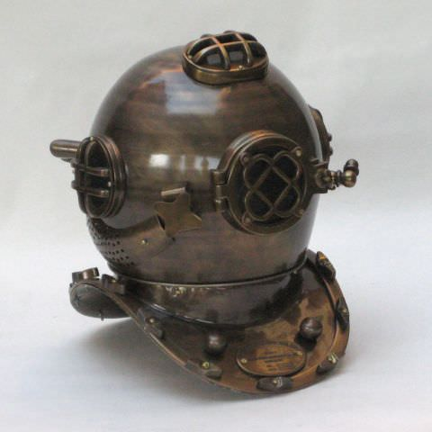 "18"" US Navy Mark V Aluminum Diving Helmet Weathered to look Authentic"