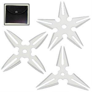 Azan Silver Ninja Throwing Star Set of 3