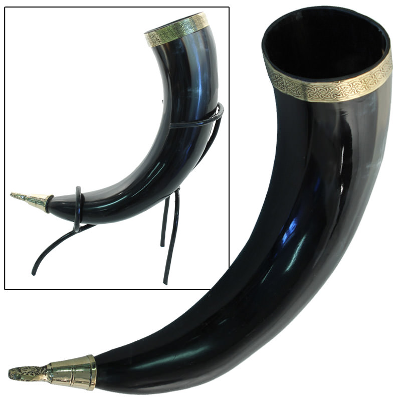 Brass Adorned Medieval Drinking Horn with Metal Stand