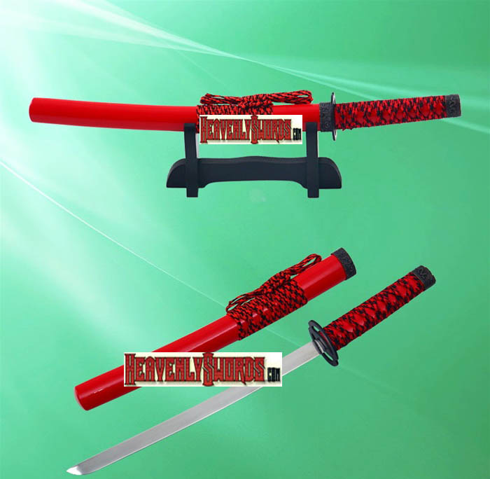 Red Musashi Warrior Samurai Katana Sword Letter Opener With Stand 12""