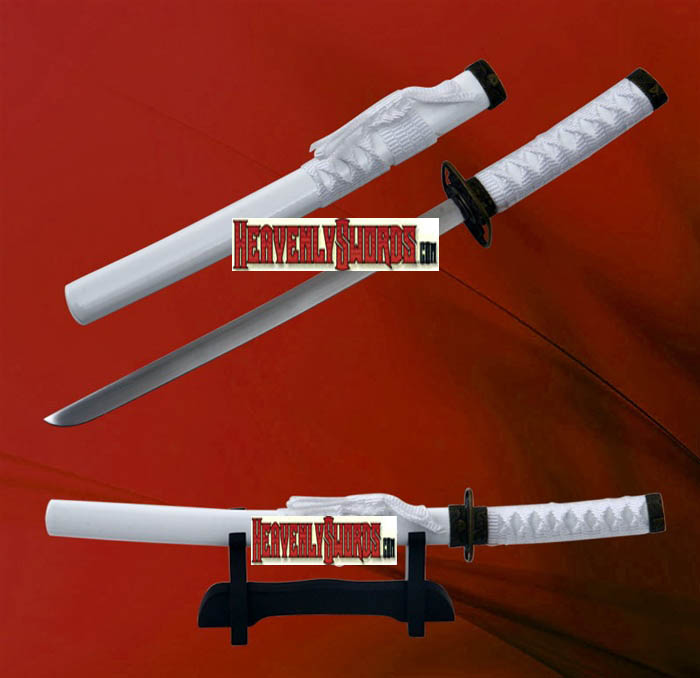 White Ocean Samurai Katana Sword Letter Opener with Stand 12&quot;