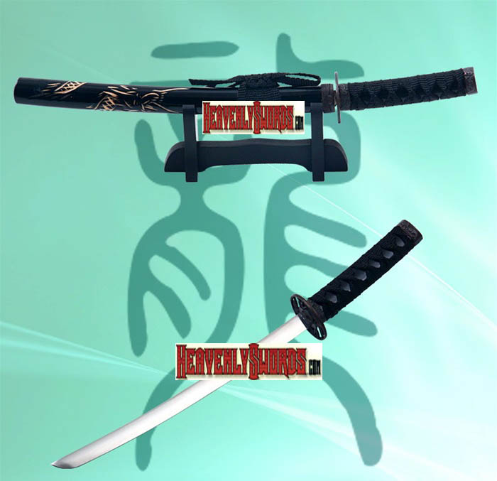 Black Dragon Katana Sword Letter Opener With Stand 12""