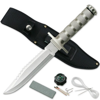 Survival Knife with matches compass and more 12""