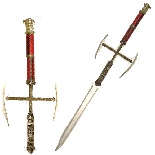 Medievil Cross Double Sided Blade Sword-red handle 39""
