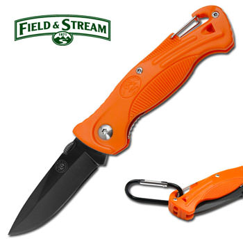 FIELD & STREAM Orange Hiker Knife with Whistle 4 3/4""