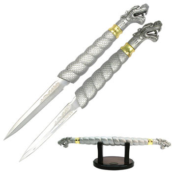 DOUBLE DRAGON DAGGER WITH STAND 19 1/2""