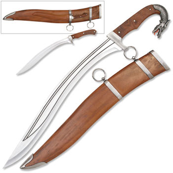 Dragon Slayer Knife with Mini Knife and Brown Sheath 17 1/4""