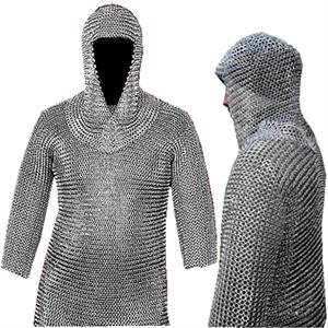 Museum Replica Haubergeon Chain Mail Armor Long Shirt and Cap