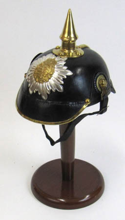 Leather German Helmet with chin strap and inner lining