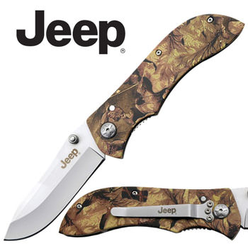 "JEEP 4 3/4"" CAMO SILVER BLADE KNIFE IN BOX"