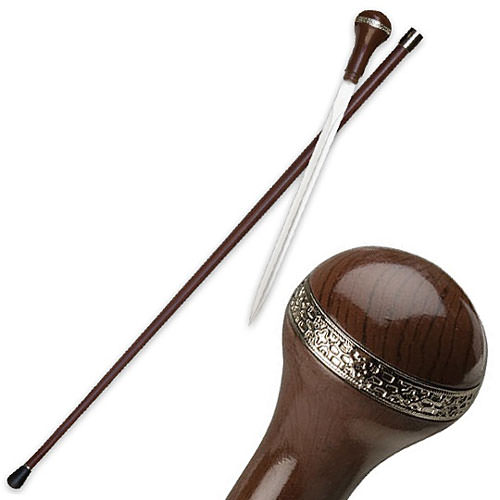 Sword Cane - Elegant Executive - Brown w/ Nickel Trim