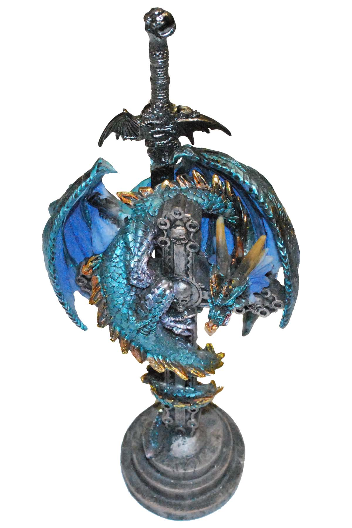 Blue Serpant Dragon Stand with Letter Opener 10""