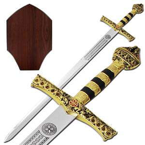 Anointed 1066 Knights Templar Golden Sword & Plaque 42""