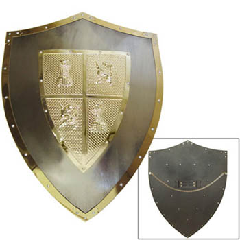 Medieval Steel/ bronze Shield of El CId 25&quot;