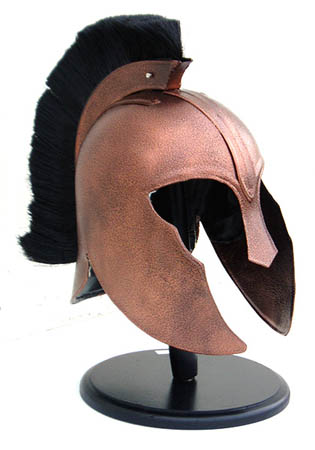 Greek Achilles Helmet Bronze with black plume- Stand included