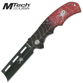 Folding Razor Blade Knife with Spider Handle -Red