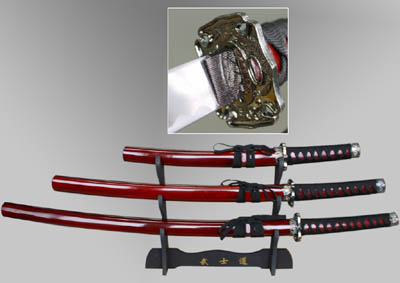 Samurai Sword Set Red Dragon 3 Pieces & Stand