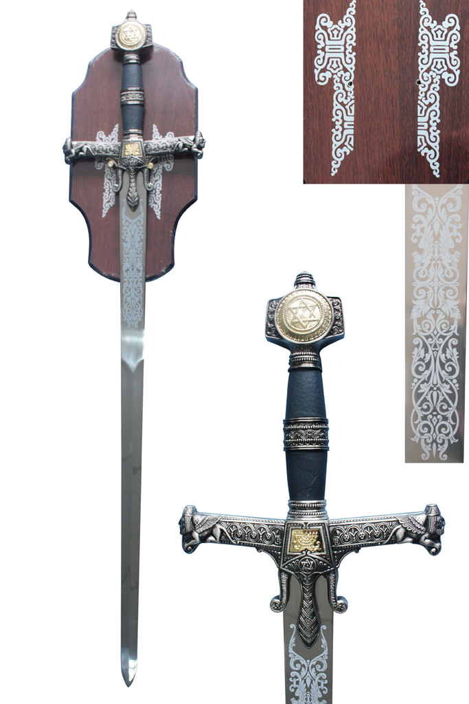King Solomons Medieval Sword with Black Handle & Plaque 51""