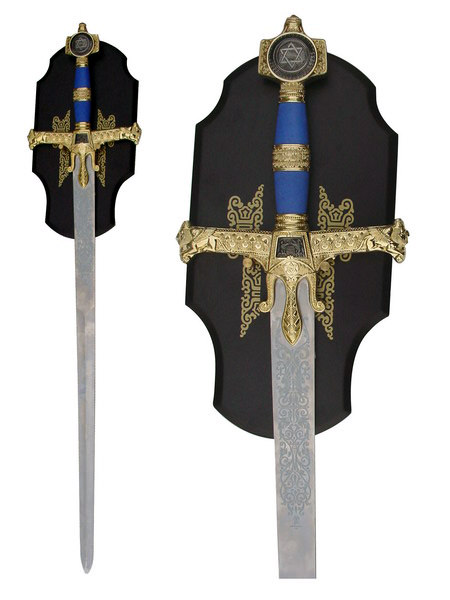 King Solomons Medieval Sword with Blue Handle & Plaque 51""