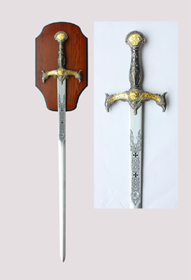 """Medieval Crusader Sword II with Plaque 47"""""""
