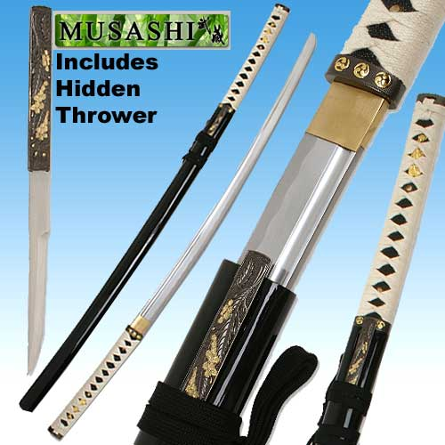 Bushido Musashi - Zetsurin Sword w/ Knife Full Tang - Black Saya 40&quot;