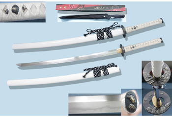 Hand Forged White Damascus Steel Musashi 41""