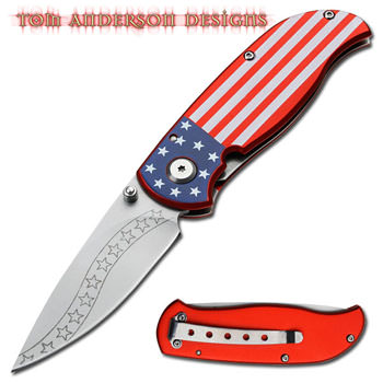 Tom Anderson 'STARS & STRIPES' Folding Knife 7""