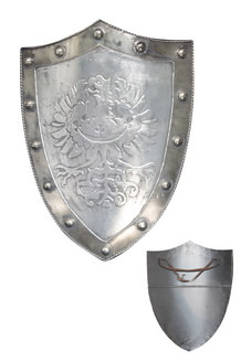 Medieval Silver Shield with Royal Crest 24 x 17