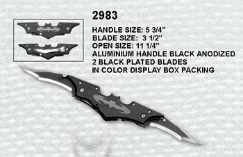 Two Way Blade Batman Folding Knife with Clip Sharp