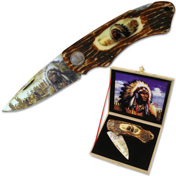 American Indian Inspired Lock Back Knife