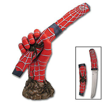 "Spiderman's Fury Tanto Knife 13"" and stand"