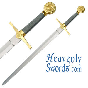 Medieval Longsword Gold and Silver 35""