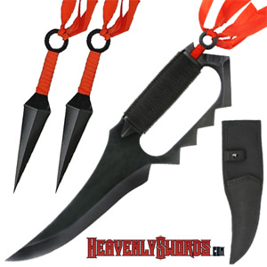Naruto Asuma Sarutobi Ninja Fighter Trench Knife with Kunai Knives