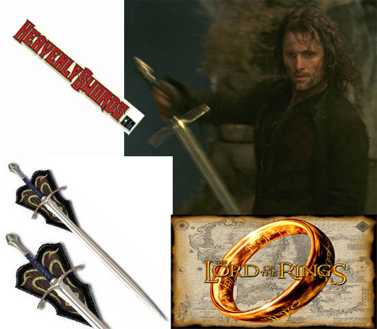 LOTR Lord of the Rings Strider Swords and Sheath 47&quot;