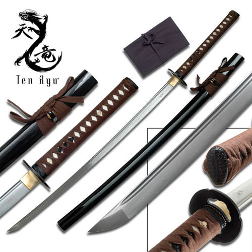 Ten Ryu - Sharp Damascus Steel Katana Brown Sword 40""