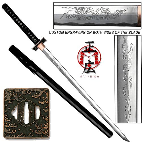 Masahiro - Engraved Tsunami Ninja-to Sword Razor Sharp 40&quot;