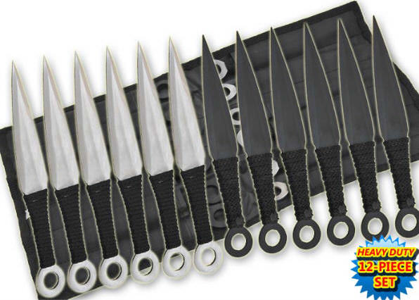12 Pc 2-Color Set Throwing Knive Set