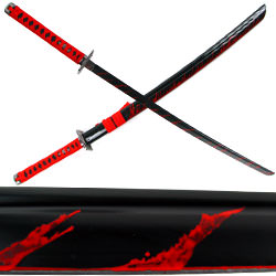 Carbon Steel Ninja Katana Black with Blood Splash 40""