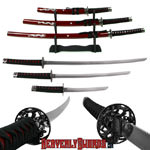 Deluxe Red Dragon Katana Samurai Sword Set 39 5/8""