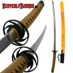 Hand Forged Steel Samurai Sword - Wood Dragon Scabbard