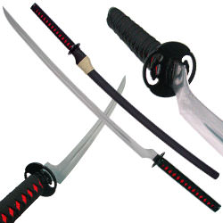 Katana Sword - Black and Red w/ Blood Groove 44 1/2&quot;
